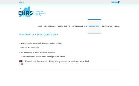 Screenshot of FAQ Page ehrs.org - Frequently asked questions | EHRS European Hair Research Society - captured Aug. 20, 2017