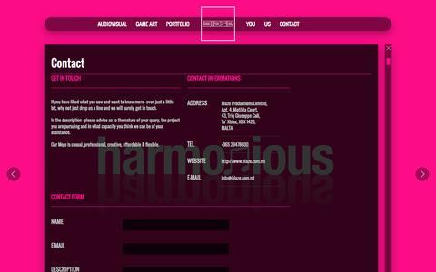 Screenshot of Contact Page blazereel.com - Contact | Audio Visual 3D Production - captured Oct. 5, 2014