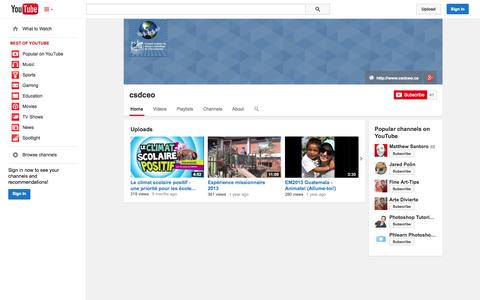 Screenshot of YouTube Page youtube.com - csdceo  - YouTube - captured Oct. 22, 2014