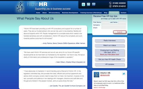 Screenshot of Testimonials Page hitchinhr.co.uk - What People Say About Us — Hitchin HR - captured Sept. 30, 2014