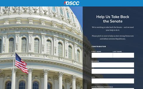 Screenshot of Landing Page dscc.org - |  Contribute Today to Support Democrats - captured Feb. 12, 2017