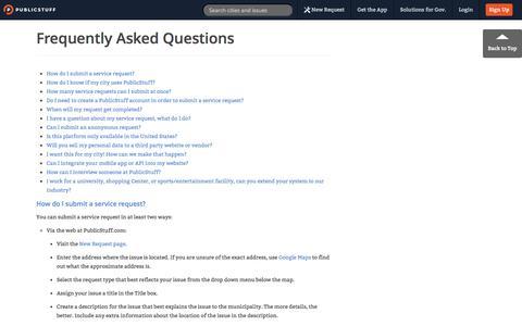 Screenshot of FAQ Page publicstuff.com - PublicStuff ~ FAQ - captured Sept. 12, 2014