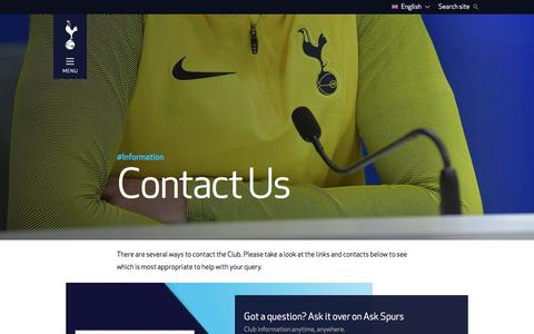 Screenshot of Contact Page tottenhamhotspur.com - Contact Us | Tottenham Hotspur - captured Sept. 21, 2018