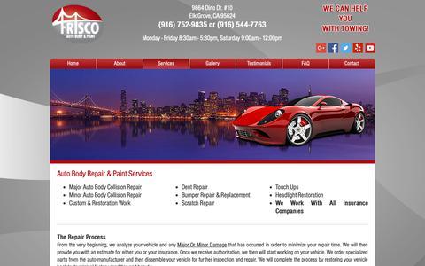 Screenshot of Services Page friscoautobody.com - Services | Elk Grove, CA | Frisco Auto Body & Paint - captured Oct. 11, 2018