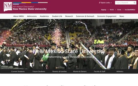 Screenshot of Home Page Press Page nmsu.edu - New Mexico State University - All About Discovery! - captured Jan. 26, 2016