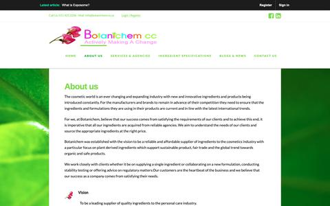 Screenshot of About Page botanichem.co.za - About Us | Botanichem - captured Oct. 6, 2018