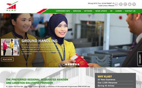 Screenshot of Home Page klas.com.my - KLAS - The Preferred Regional Integrated Aviation & Logistics Solutions Provider - captured Aug. 6, 2015