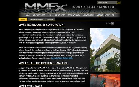 Screenshot of About Page mmfx.com - About - MMFX - captured Oct. 3, 2014