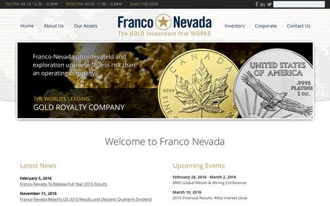 Screenshot of Home Page franco-nevada.com - Home - Franco Nevada - captured Feb. 10, 2016