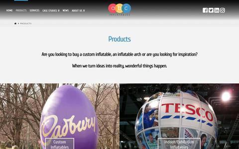 Screenshot of Products Page abcinflatables.co.uk - Exciting Products from Custom Inflatables to Rentals - captured Oct. 2, 2018