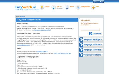 Screenshot of Contact Page easyswitch.nl - EasySwitch contactinformatie - captured Sept. 19, 2014