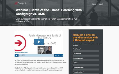 Screenshot of Landing Page catapultsystems.com - Webinar | Battle of the Titans: Patching with ConfigMgr vs. OMS - captured March 4, 2018