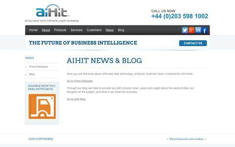 Screenshot of Press Page aihit.com - News & Blog | aiHit - captured Sept. 11, 2014