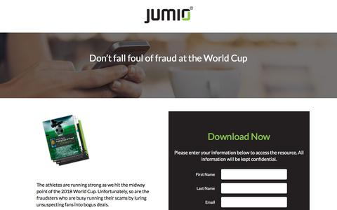 Screenshot of Landing Page jumio.com - Don't fall foul of fraud at the World Cup - captured May 29, 2018