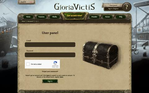 Screenshot of Login Page gloriavictisgame.com - Gloria Victis :: Sign in - captured Oct. 6, 2018