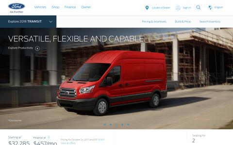 Screenshot of ford.com - 2018 Ford® Transit Full-Size Cargo Van | The Perfect Fit for Your Business | Ford.com - captured Oct. 24, 2017