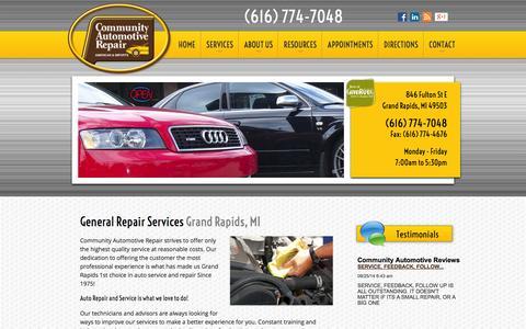 Screenshot of Services Page communityautomotive.com - General Repair Services | Auto Repair Grand Rapids, MI | Community Automotive Repair - captured Oct. 8, 2014