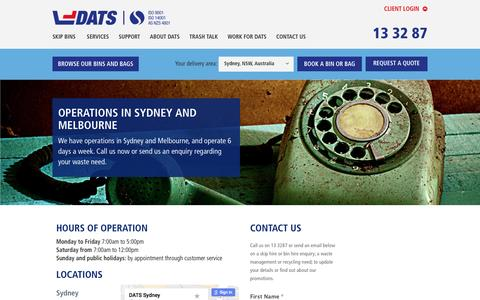 Screenshot of Contact Page dats.net.au - Contact DATS, Sydney and Melbourne - captured Nov. 23, 2016