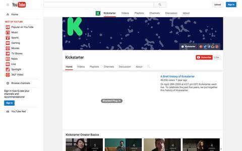 Screenshot of YouTube Page youtube.com - Kickstarter  - YouTube - captured Nov. 17, 2015