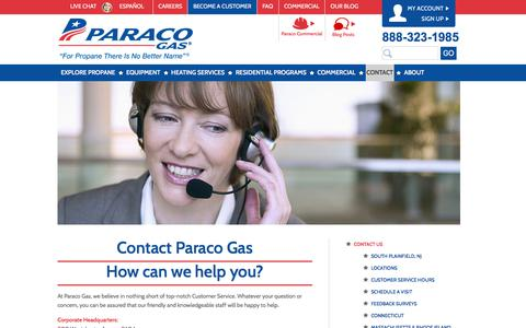 Screenshot of Contact Page paracogas.com - Contact Paraco Gas | Paraco Gas - captured July 14, 2017