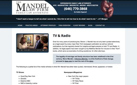 Screenshot of Press Page mandellawfirm.com - TV & Radio | The Mandel Law Firm | New York City, NYC - captured Feb. 15, 2016