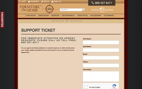 Screenshot of Support Page furniturefromhome.com - Support - - captured Sept. 4, 2018