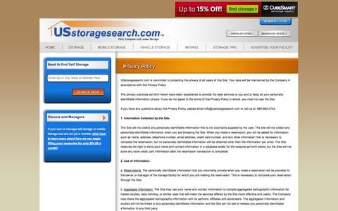 Screenshot of Privacy Page usstoragesearch.com - Shhhh we keep things quiet – Read our Privacy Policy - Usstoragesearch.com - captured Sept. 23, 2014