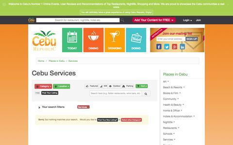 Screenshot of Services Page ceburepublic.com - Cebu Services | Cebu Republic - captured Oct. 28, 2014