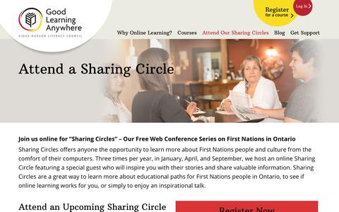 Screenshot of Signup Page goodlearninganywhere.com - Attend Our Sharing Circles | GLA - captured Oct. 18, 2018
