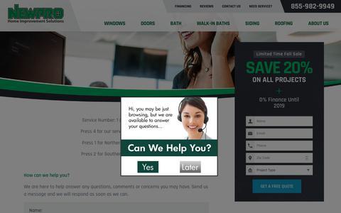 Screenshot of Support Page newpro.com - Customer Service - captured Oct. 20, 2018