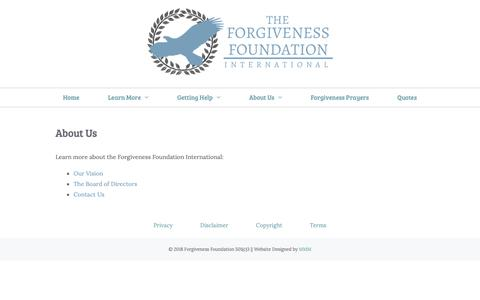 Screenshot of About Page forgivenessfoundation.org - Forgiveness Foundation International   About Us - captured Oct. 22, 2018