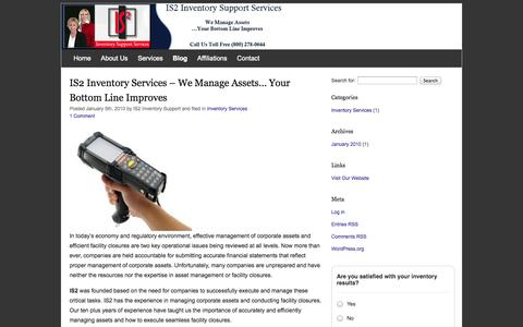 Screenshot of Blog is2inventory.com - IS2 Inventory Support Blog - captured Oct. 4, 2014