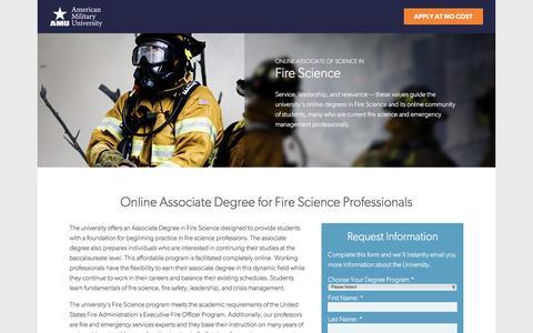 Screenshot of Landing Page apus.edu - Online Associate of Science in Fire Science | American Military University - captured April 6, 2017