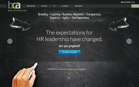 Screenshot of Home Page bcasearch.com - Human Resources Executive Recruiters | BCA Executive Recruiters - captured Feb. 7, 2016