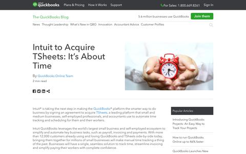 Screenshot of Press Page intuit.com - Intuit to Acquire TSheets: It's About Time - QuickBooks - captured Nov. 21, 2019