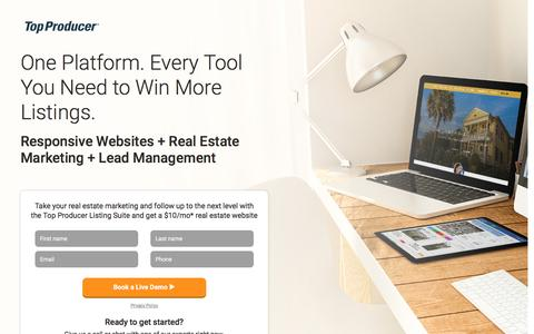 Screenshot of Landing Page topproducer.com - Top Producer® | Real Estate CRM, Personalized Marketing, Lead Management & Websites - captured May 23, 2016