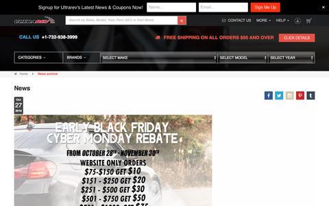 Screenshot of Press Page ultrarev.com - News archive - captured Oct. 5, 2017