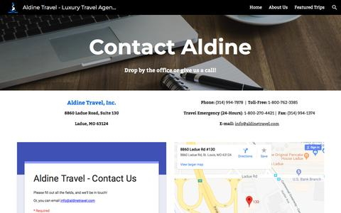 Screenshot of Contact Page aldinetravel.com - Aldine Travel - Luxury Travel Agency - Contact Us - captured July 29, 2018