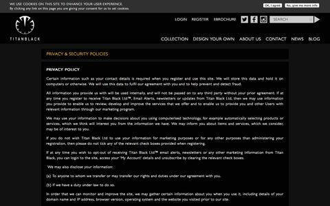 Screenshot of Privacy Page titanblack.co.uk - Privacy & Security Policies | Titan Black - captured Sept. 19, 2014