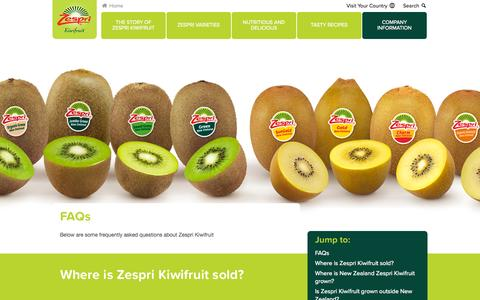 Screenshot of FAQ Page zespri.com - FAQs - captured Oct. 7, 2014