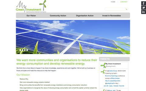 Screenshot of Home Page mygreeninvestment.com - Home - My Green Investment - captured Jan. 26, 2015