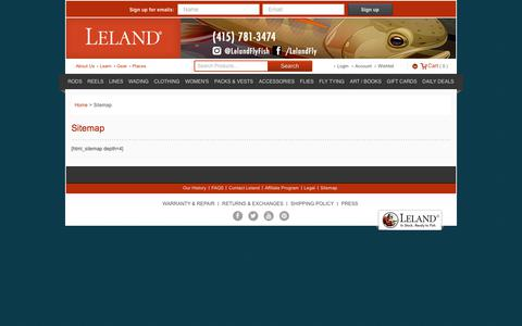 Screenshot of Site Map Page lelandfly.com - Sitemap - In Stock, Ready to Fish - Leland Fly Fishing Outfitters - captured Sept. 22, 2018