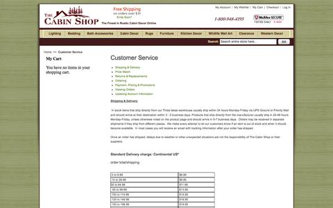 Screenshot of Support Page thecabinshop.com - Cabin Decor Shop By - Customer Service - captured Nov. 4, 2014