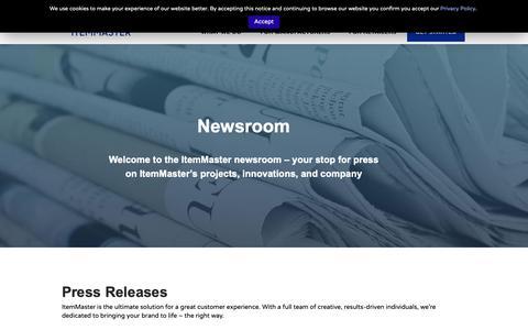 Screenshot of Press Page itemmaster.com - Press Releases | ItemMaster - captured Nov. 16, 2018