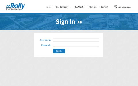 Screenshot of Login Page rallyeng.com - Careers | Rally Engineering Incorporated - captured Oct. 18, 2018