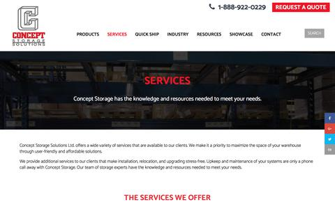 Screenshot of Services Page conceptstorage.com - Helpful Services to Meet Your Warehouse Storage Needs - Concept Storage - captured Aug. 21, 2017
