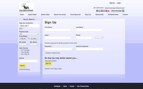 Screenshot of Signup Page buyeragentsofboston.com - Sign Up - captured Sept. 30, 2014