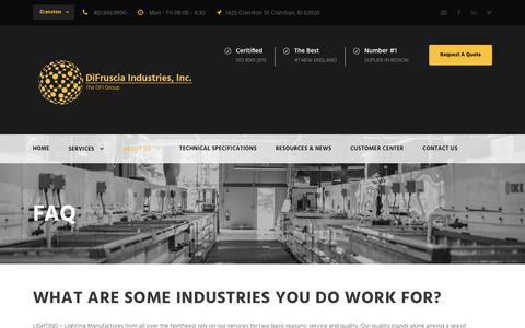 Screenshot of FAQ Page difruscia.com - FAQ - DiFruscia Industries - captured Oct. 9, 2018