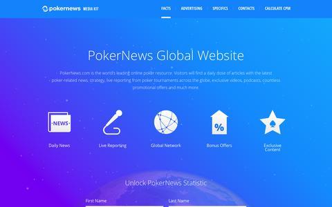 Screenshot of pokernews.com - PokerNews Media Kit - captured Oct. 19, 2017