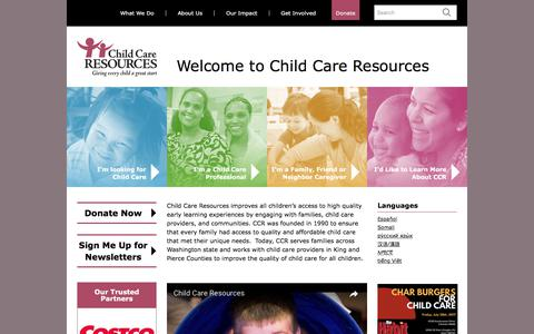 Screenshot of Home Page childcare.org - Child Care Resources - captured July 28, 2017